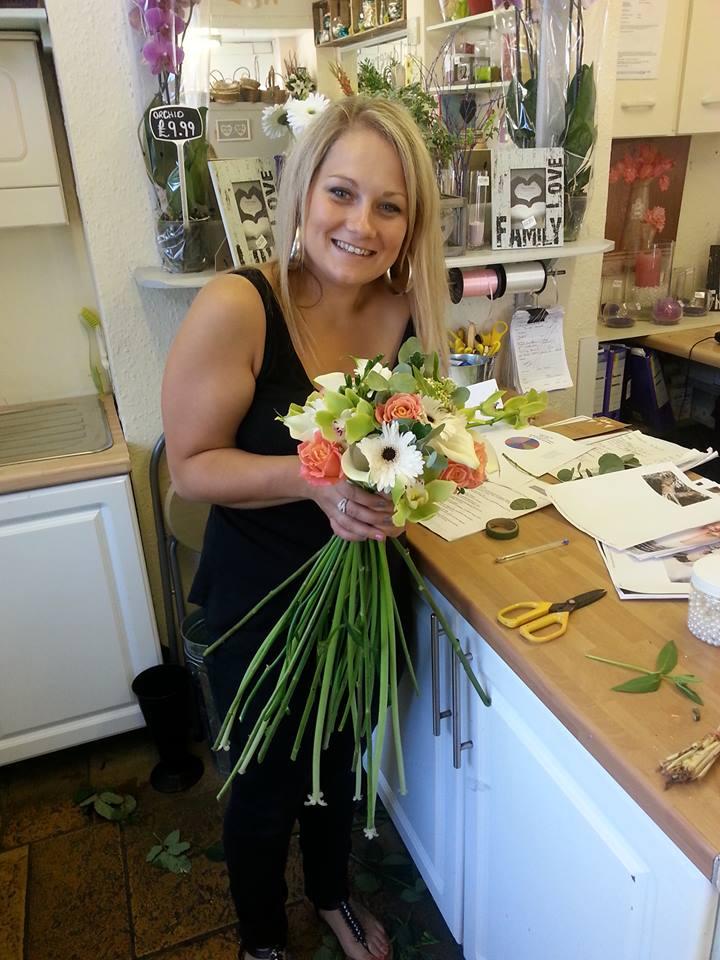Preparing flowers for The Italian Villa wedding venue