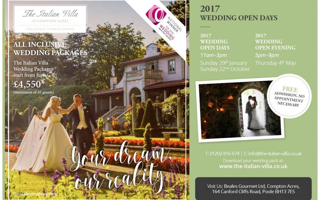 Wedding Open Days for 2017 announced