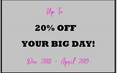 Up to 20% off your big day!